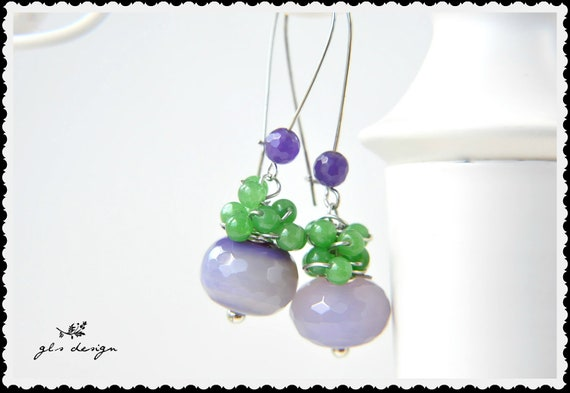 birdhstone purple green  gemstone earrings