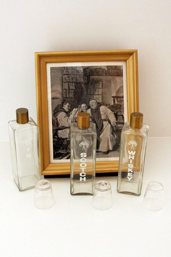 Hidden Treasure Framed Liquor Bar Set ((RESERVED for humberto marques))
