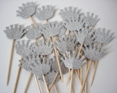 24 Decorative Royal Silver Crown Party Picks, Toothpicks, Food Picks, Cupcake Toppers - No674
