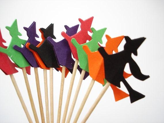 24 Halloween Black Orange Dark Purple Green Red Witch Party Picks, Toothpicks, Cupcake Toppers, Food Picks, Drink Picks - No309