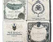 Unique Gift, Vintage French Wine, Stone Coasters