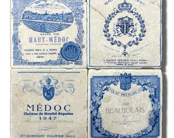 "Marble Coasters, ""French Blue"" Vintage Wine Label Stone Coasters"