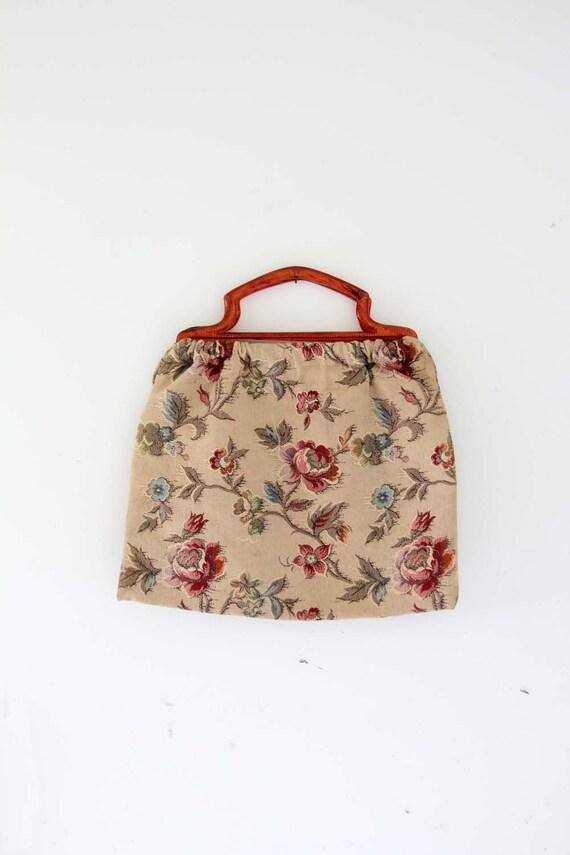 Vintage Knitting Bag : Vintage s knitting bag floral tapestry handbag