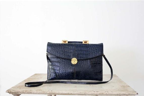 Vintage Amelia Berko Leather Bag // The Navy Alligator