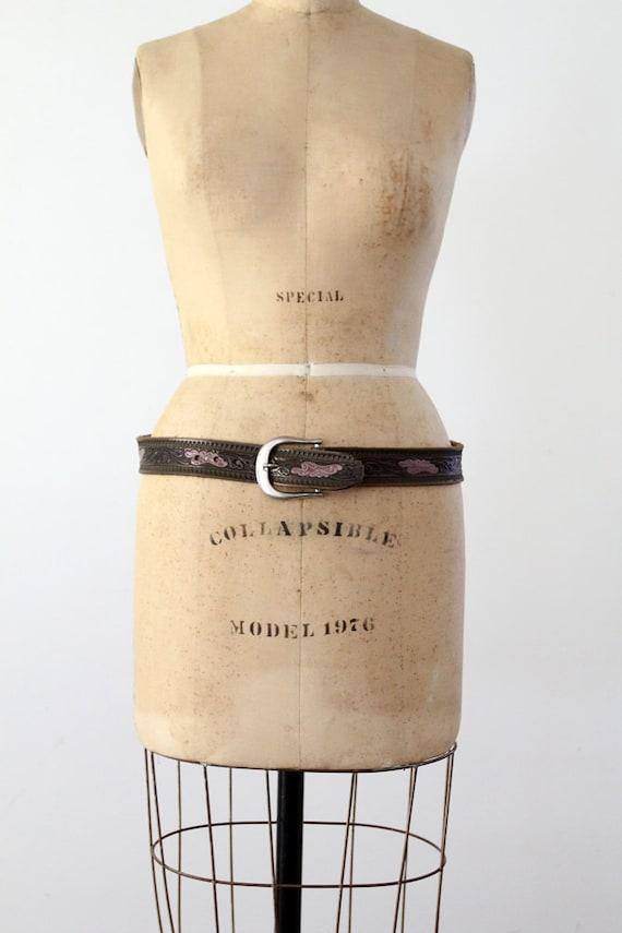 FREE SHIP  1980s tooled leather belt, vintage brown floral belt