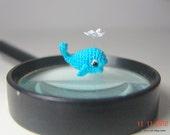 tiny crochet turquoise whale - art dollhouse miniature - amigurumi animal 0.8 inch long