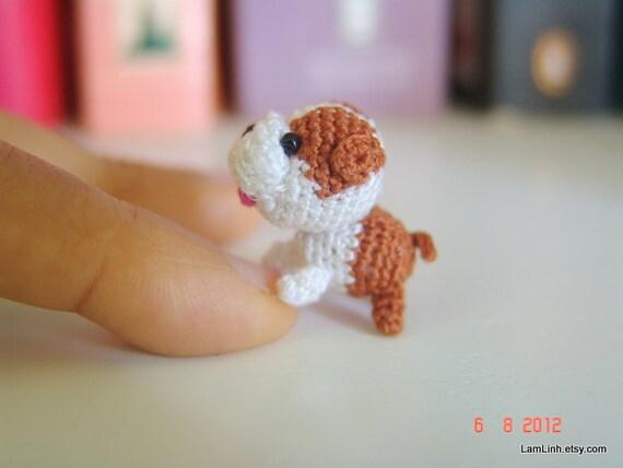 mini crochet puppy Crochet stuffed animal Dollhouse decor