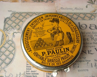 Vintage french tin box P.PAULIN Shoe Polish Leather Care