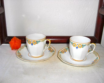 Pair of Art Deco vintage french LIMOGES porcelain cup and saucer