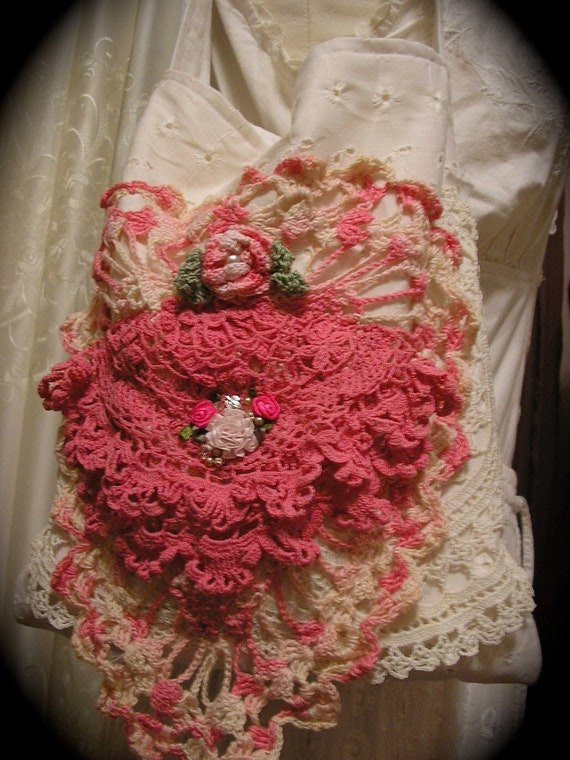 Pink Doily Bag vintage crocheted doilies handmade white cotton whimsy lace paris chic french shabby whimsical