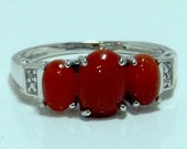 Enhanced Red Jade ,Diamond Ring