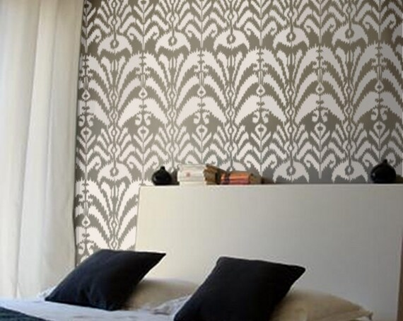 Boho Pattern Stencil for Walls - Ikat Pattern no. 6 - Allover Wall Stencil - Reusable DIY Home Decor