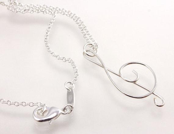 Treble Clef Pendant, Wire Pendant, Silver Treble Clef, Treble Clef Necklace, Music Pendant