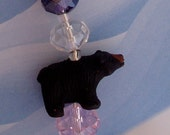 Black Bear Hanging Crystal Ornament