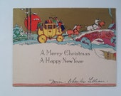 Vintage  Deco Christmas Postcard  Greeting Card of yellow stagecoach and horses with stone bridge and snow
