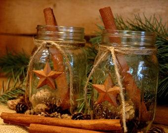 Rustic set of 2 Mason Jars with Barn Stars holiday decor