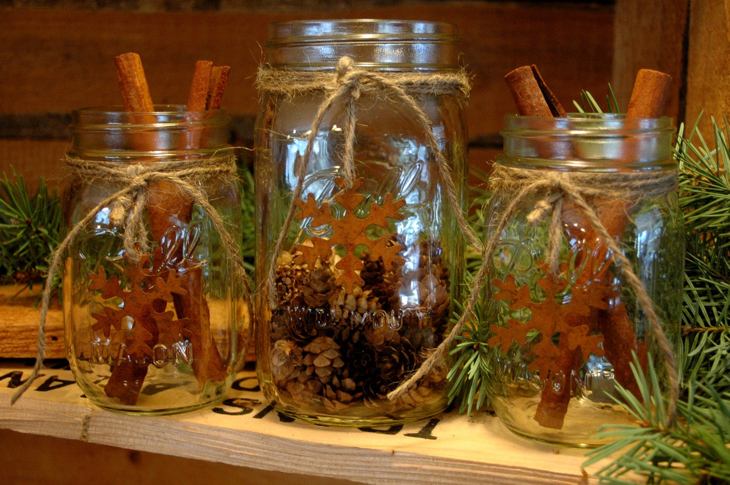 Rustic set of mason jars with snowflakes for your christmas
