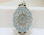 Locket,baby blue and pearl Silver Locket,Oval Resin Locket,filigree locket necklace,photo locket,Wedding Necklace,bridesmaid necklace