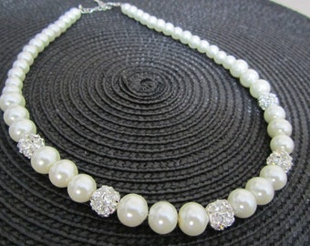 Ivory pearl and rhinestone bridal necklace with FREE EARRINGS***