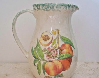 Vintage Country Pitcher Spongeware Peach Pottery Pitcher Italy Country Kitchen Lemonade Backyard Picnic 1970s