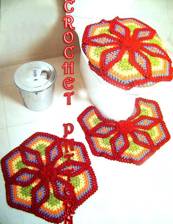 Accesorios De Baño A Crochet:Crochet accesorios alfombras patrón para el patio, baño, hogar