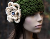 Headband with Flower and Vintage Buttons.