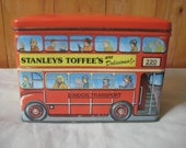 Vintage London Double Decker Bus Stanleys Toffee Tin