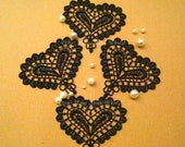 Venice Heart Applique Trim - 4 PCS Black Lovely Heart Applique Lace (A15)