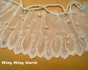 Cotton Embroidered Lace Trim, Light Beige Lace Trim,Big Leaf Lace for Costume Desige,headband 6.3 inches wide 2 yards (L11)
