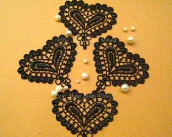 Venice Heart Applique Trim - 4 PCS Black Lovely Heart Applique Lace (A15)