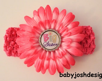 BIG SISTER  Bottle Cap daisy flower plus crochet headband