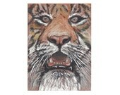 """ORIGINAL PAINTING Fine Art Miniature """" The Kind Tiger """" Tiny Treasure Collectables"""