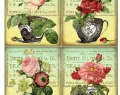 Antique Tea Cups and Roses Digital Collage Sheet Instant Download for Cards Journal Tags Original Whimsical Altered Art by GalleryCat CS19