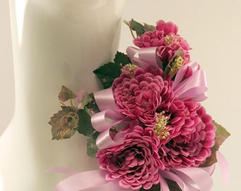 Corsage Red Violet Zinnias