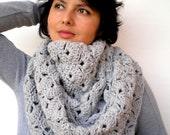 Grey Fashion Circle Scarf Super Soft Mixed wool Circle Neckwarmer Woman ' Scarf NEW COLLECTION