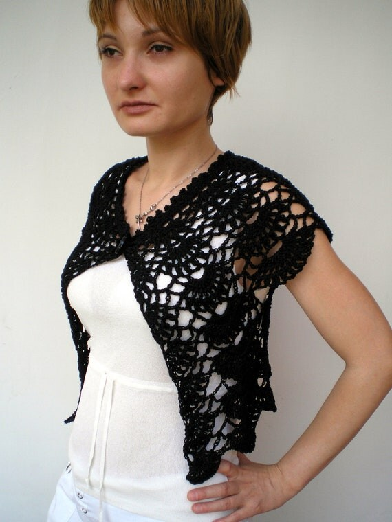 Black  Flower Shrug Bolero Hand Crocheted   mixed Cotton  Woman Shrug  NEW