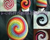 PDF PATTERN - Six-Color RAINBOW Spiral-Stripe Beanie - Teen-Adult