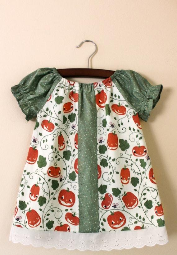 Peasant baby dress Halloween pumpkin patch Size 12-18 months