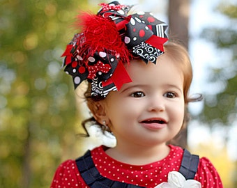 Christmas Black, Red, and White Over the Top Boutique Hair Bow Headband