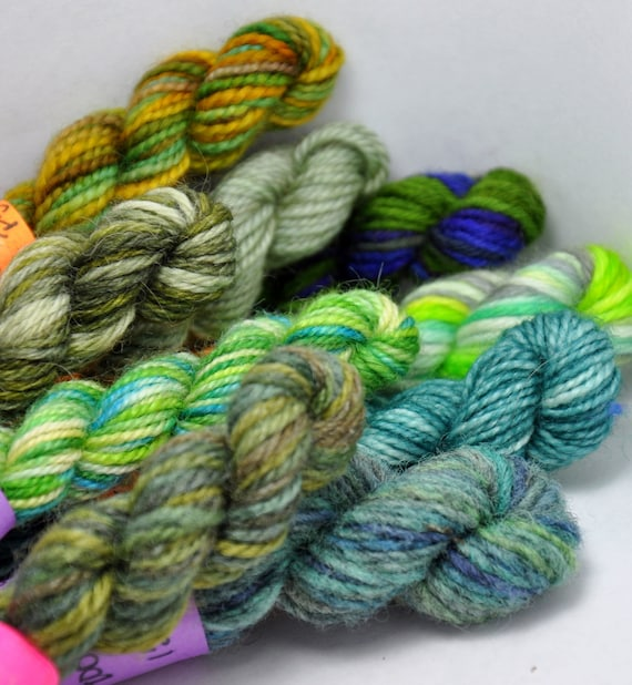 Mossy Thicket - Set of 9 Sock Yarn Mini Skeins