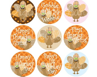 Thanksgiving Bottle Cap Images Autumn Colors Turkey Girl Thanksgiving 1 Inch Circles-Bottlecap Hairbows Jewelry Fall Autumn INSTANT DOWNLOAD