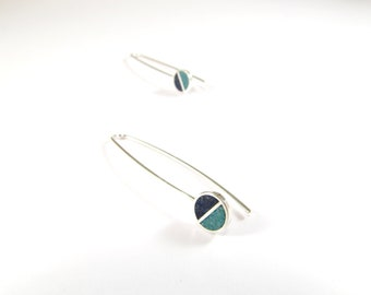 Sterling Silver Earrings, Divided Circles, Blue and Turquoise, Dangle