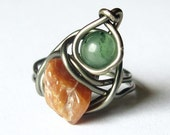 Boho Ring Size 5.5 Green and Orange Gemstone OOAK Jewelry