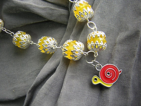 Yellow and Silver Large Bead Necklace with Red and Yellow Snail Charm Handmade by Rewondered