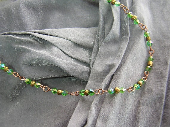 Iridescent Green and Antique Gold Basically Beaded Necklace Handmade by Rewondered