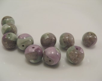 Lavender, Green and Wildflowers OOAK Faux Lampwork Beads
