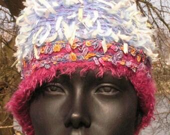 Fuzzy Wuzzy Blues & Pinks Crochet Hat... Lovely...