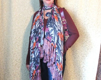 Silk Chiffon Shawl with 68 Gorgeous Tassels by the Old Silk Route