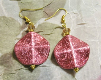 Metallic dangle Earrings with Swarovski crystals and Gold plated hooks - pink mauve