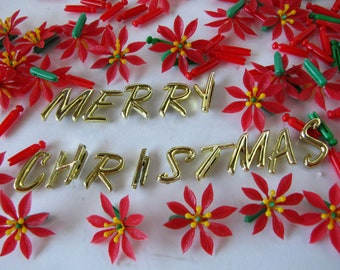 Merry Christmas Letters and  Poinsettias Clothes Pins Card Holders